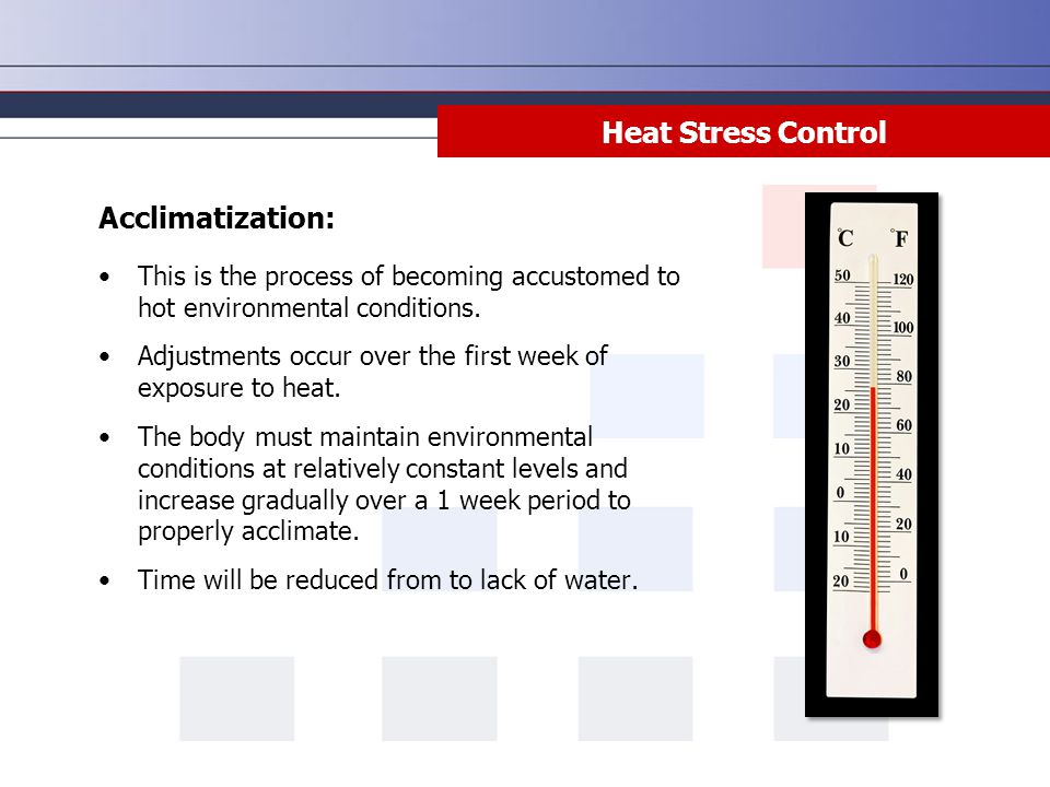 Heat Stress Control Acclimatization: This is the process of becoming accustomed to hot environmental conditions. Adjustments occur over the first week