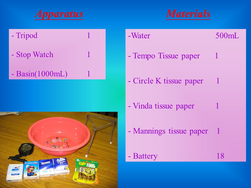 ApparatusMaterials - Tripod1 - Stop Watch1 - Basin(1000mL)1 -Water 500mL - Tempo Tissue paper 1 - Circle K tissue paper 1 - Vinda tissue paper 1 - Mannings tissue paper 1 - Battery 18