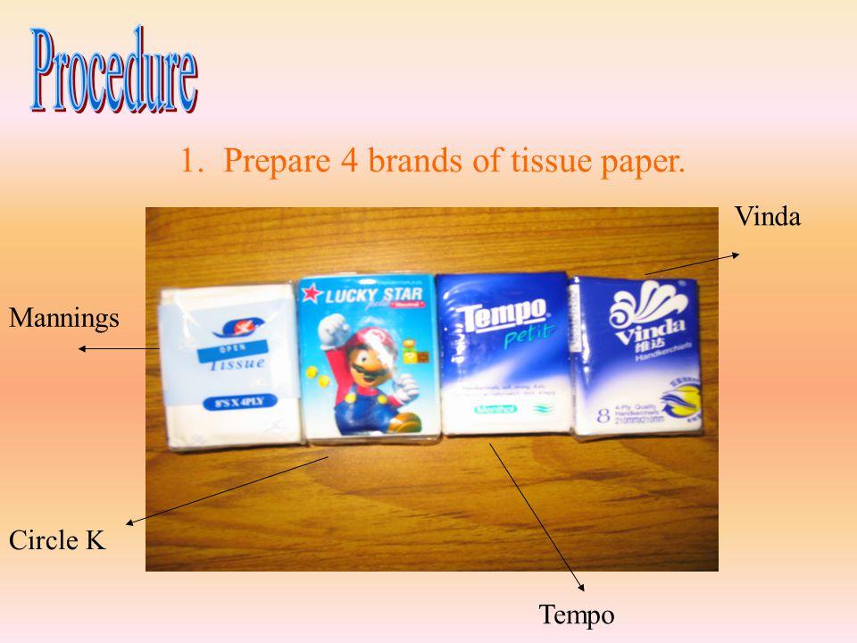 1. Prepare 4 brands of tissue paper. Circle K Mannings Tempo Vinda