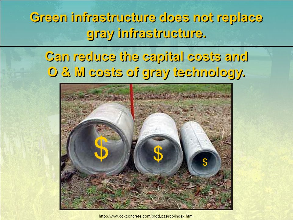 http://www.coxconcrete.com/products/rcp/index.html Green infrastructure does not replace gray infrastructure.