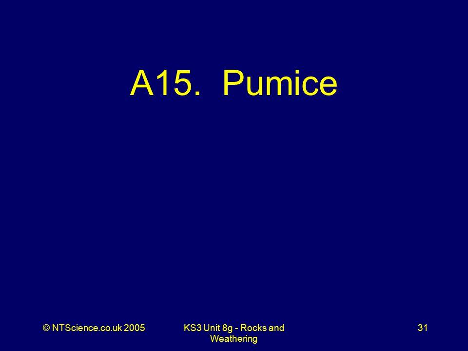 © NTScience.co.uk 2005KS3 Unit 8g - Rocks and Weathering 31 A15. Pumice