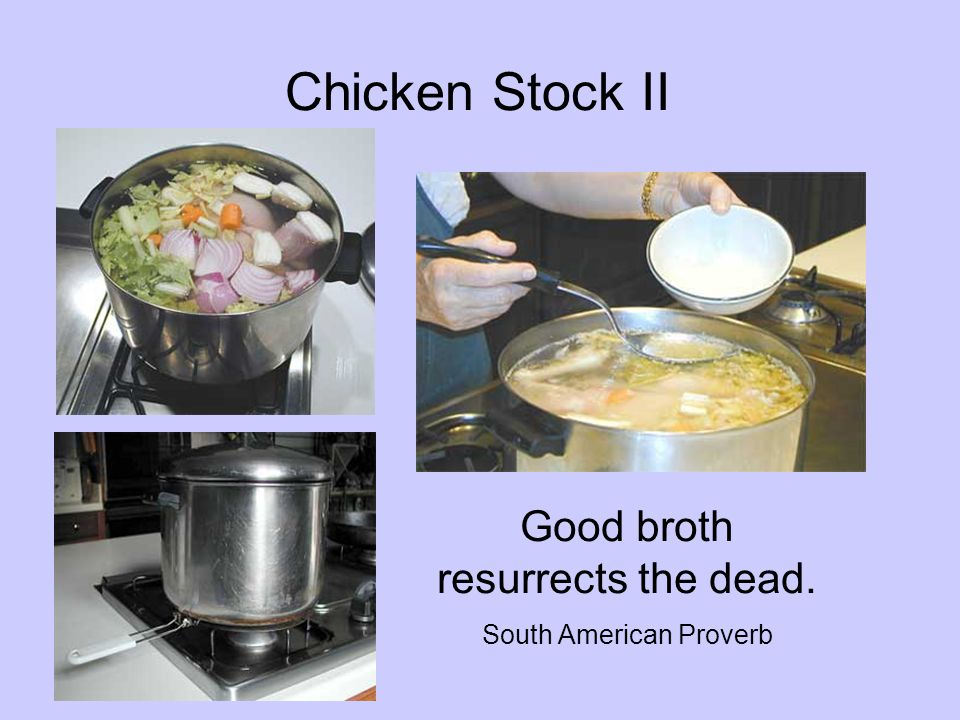 Chicken Stock II Good broth resurrects the dead. South American Proverb