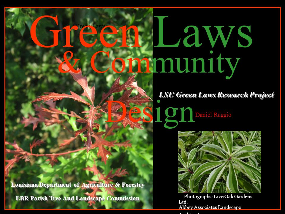 & Community Design LSU Green Laws Research Project Green Laws Louisiana Department of Agriculture & Forestry EBR Parish Tree And Landscape Commission