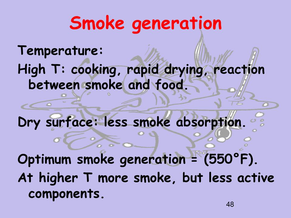 Smoke generation Temperature: High T: cooking, rapid drying, reaction between smoke and food.