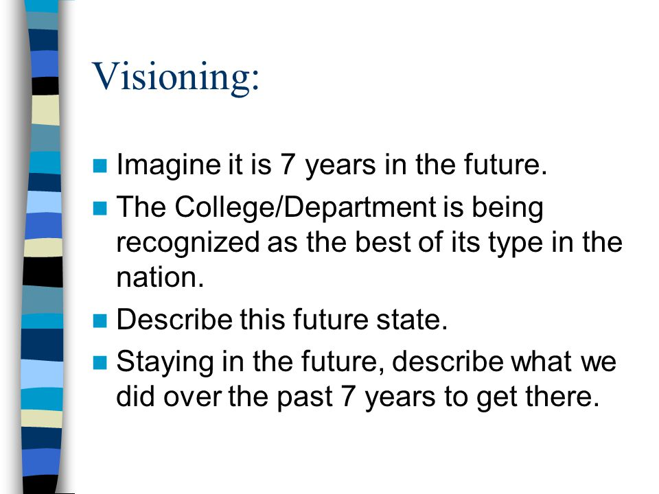 Visioning: Imagine it is 7 years in the future.