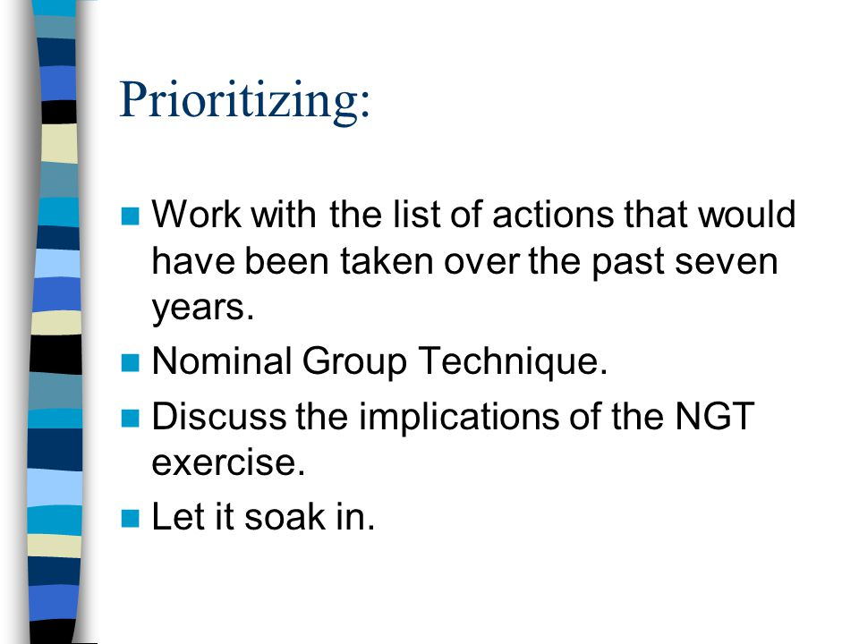 Prioritizing: Work with the list of actions that would have been taken over the past seven years.