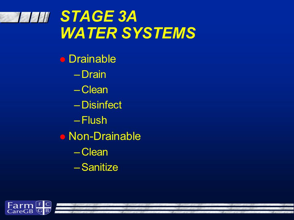 STAGE 3A WATER SYSTEMS Drainable –Drain –Clean –Disinfect –Flush Non-Drainable –Clean –Sanitize