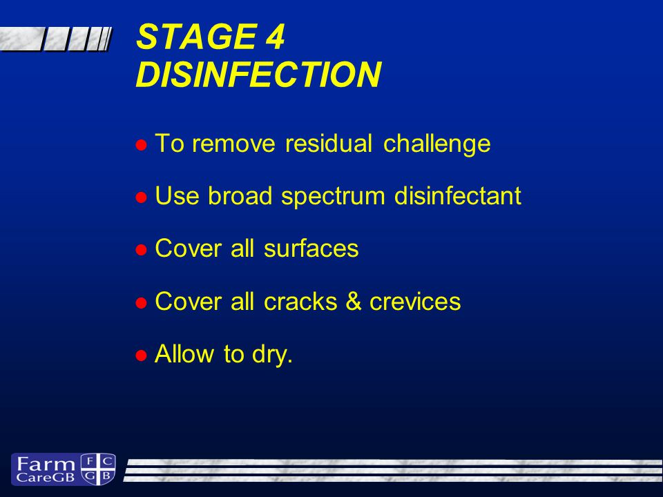 STAGE 4 DISINFECTION To remove residual challenge Use broad spectrum disinfectant Cover all surfaces Cover all cracks & crevices Allow to dry.