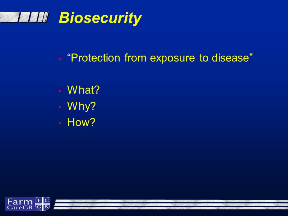 Biosecurity A set of management practices which when followed correctly reduce the potential for the introduction and spread of disease causing organisms onto, and between sites. From the perspective of the animal rather than just the farm