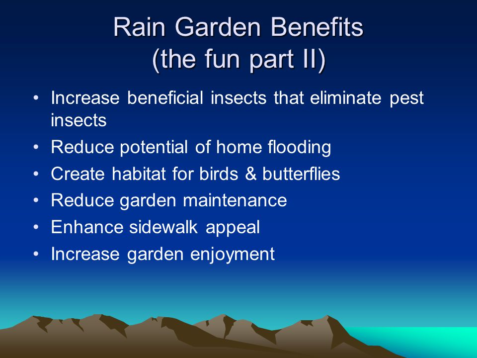 Rain Garden Soils Drains Lets hope not.May be needed if you are capturing to much water.