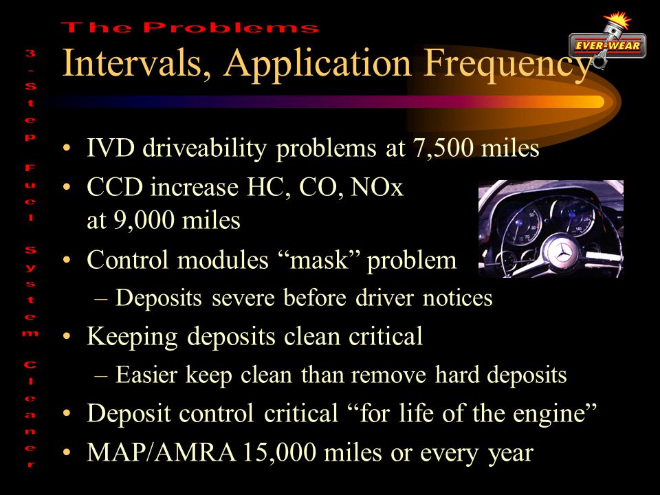 Intervals, Application Frequency IVD driveability problems at 7,500 miles CCD increase HC, CO, NOx at 9,000 miles Control modules mask problem –Deposits severe before driver notices Keeping deposits clean critical –Easier keep clean than remove hard deposits Deposit control critical for life of the engine MAP/AMRA 15,000 miles or every year