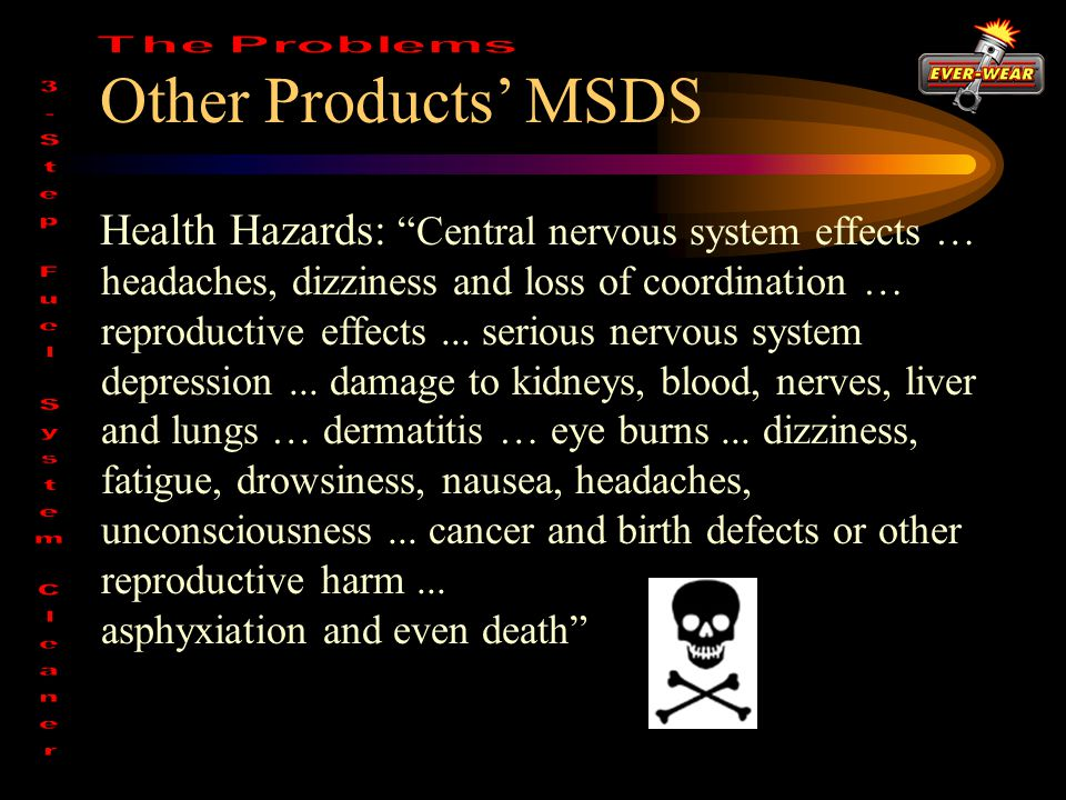 Other Products' MSDS Health Hazards: Central nervous system effects … headaches, dizziness and loss of coordination … reproductive effects...