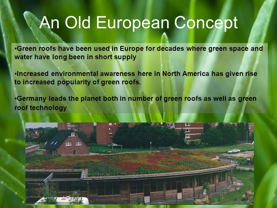 An Old European Concept Green roofs have been used in Europe for decades where green space and water have long been in short supply Increased environmental awareness here in North America has given rise to increased popularity of green roofs.