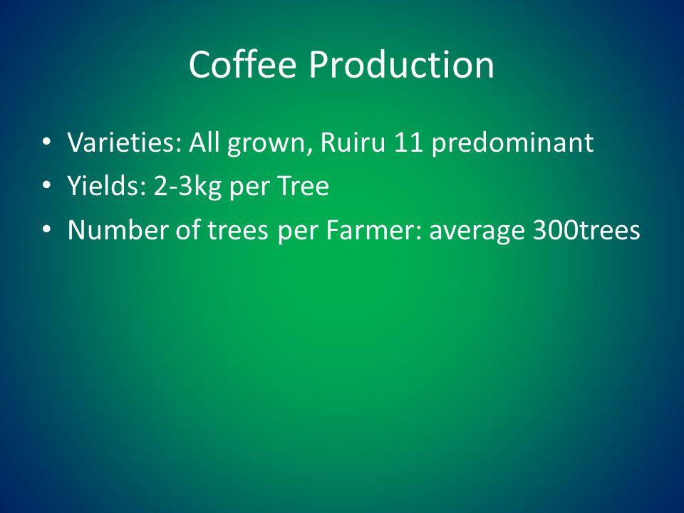 Coffee Production Varieties: All grown, Ruiru 11 predominant Yields: 2-3kg per Tree Number of trees per Farmer: average 300trees