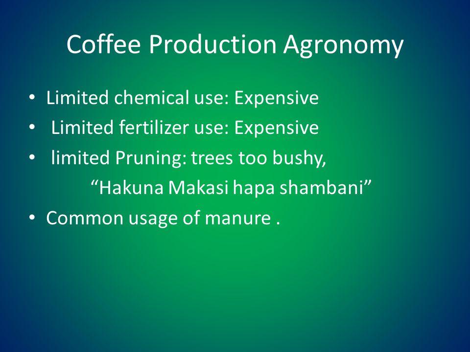 Coffee Production Agronomy Limited chemical use: Expensive Limited fertilizer use: Expensive limited Pruning: trees too bushy, Hakuna Makasi hapa shambani Common usage of manure.