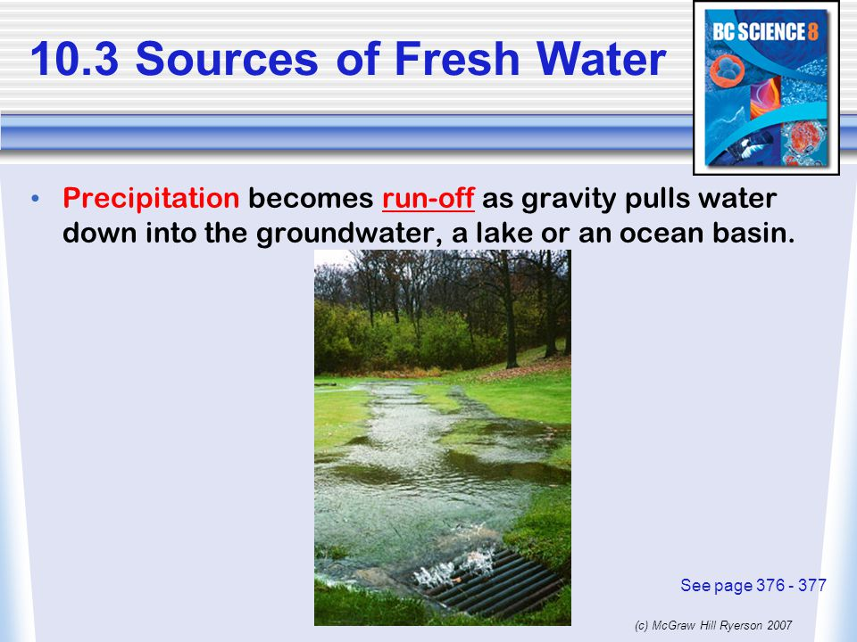 (c) McGraw Hill Ryerson 2007 10.3 Sources of Fresh Water Precipitation becomes run-off as gravity pulls water down into the groundwater, a lake or an