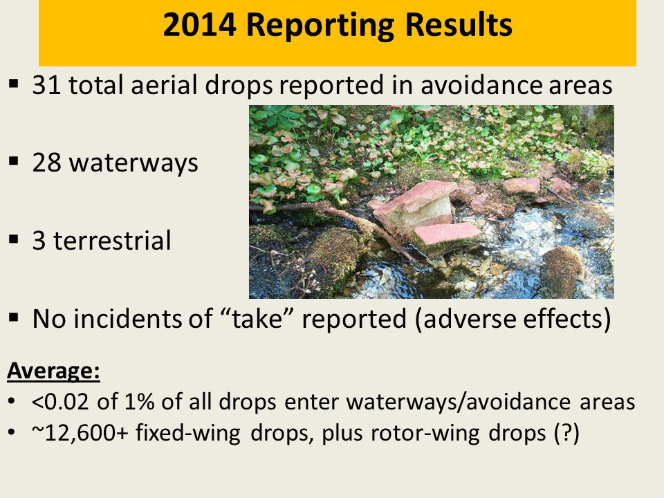 " 31 total aerial drops reported in avoidance areas  28 waterways  3 terrestrial  No incidents of ""take"" reported (adverse effects) 2014 Reporting"