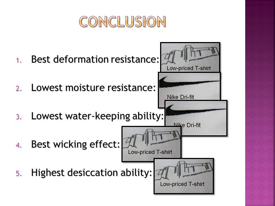 1. Best deformation resistance: Polyester 1 2. Lowest moisture resistance: Polyester 2 3.