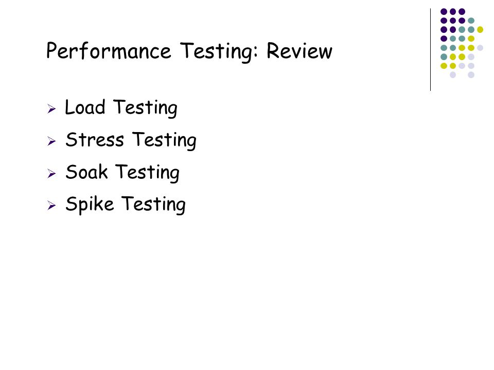 20 Performance Testing: Review  Load Testing  Stress Testing  Soak Testing  Spike Testing