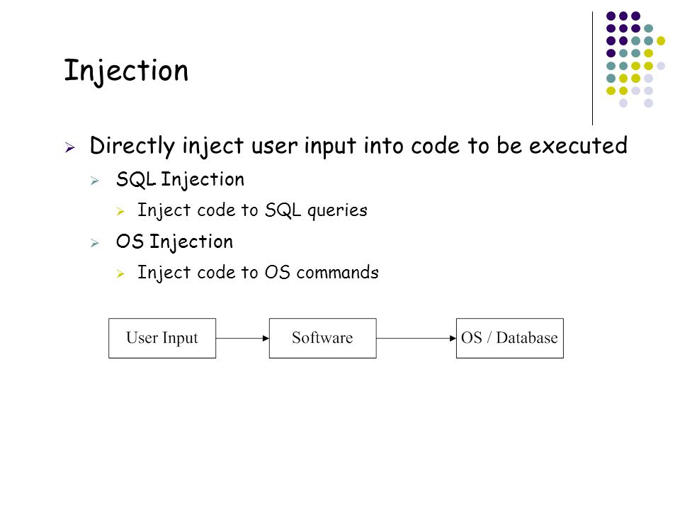 37 Injection  Directly inject user input into code to be executed  SQL Injection  Inject code to SQL queries  OS Injection  Inject code to OS commands