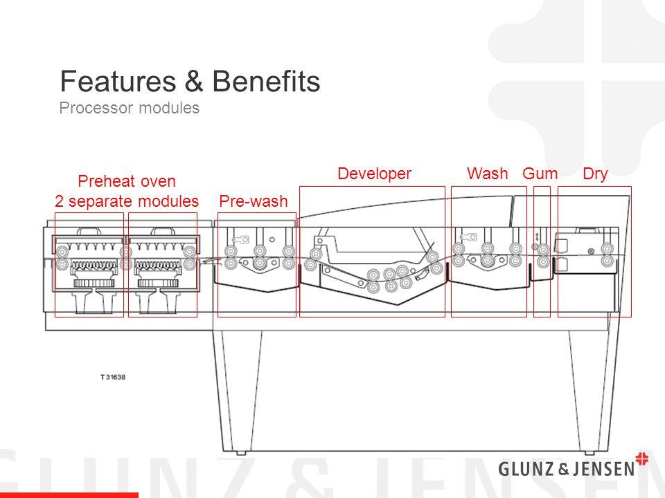 Preheat oven 2 separate modules Pre-wash DeveloperWashDryGum Features & Benefits Processor modules
