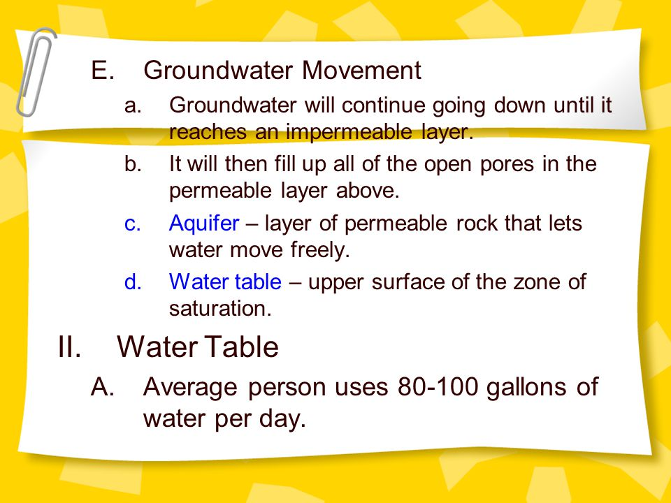 E.Groundwater Movement a.Groundwater will continue going down until it reaches an impermeable layer.
