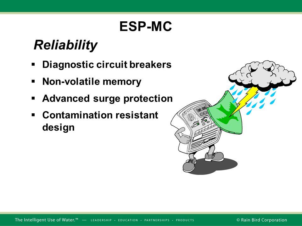  Diagnostic circuit breakers  Non-volatile memory  Advanced surge protection  Contamination resistant design Reliability ESP-MC