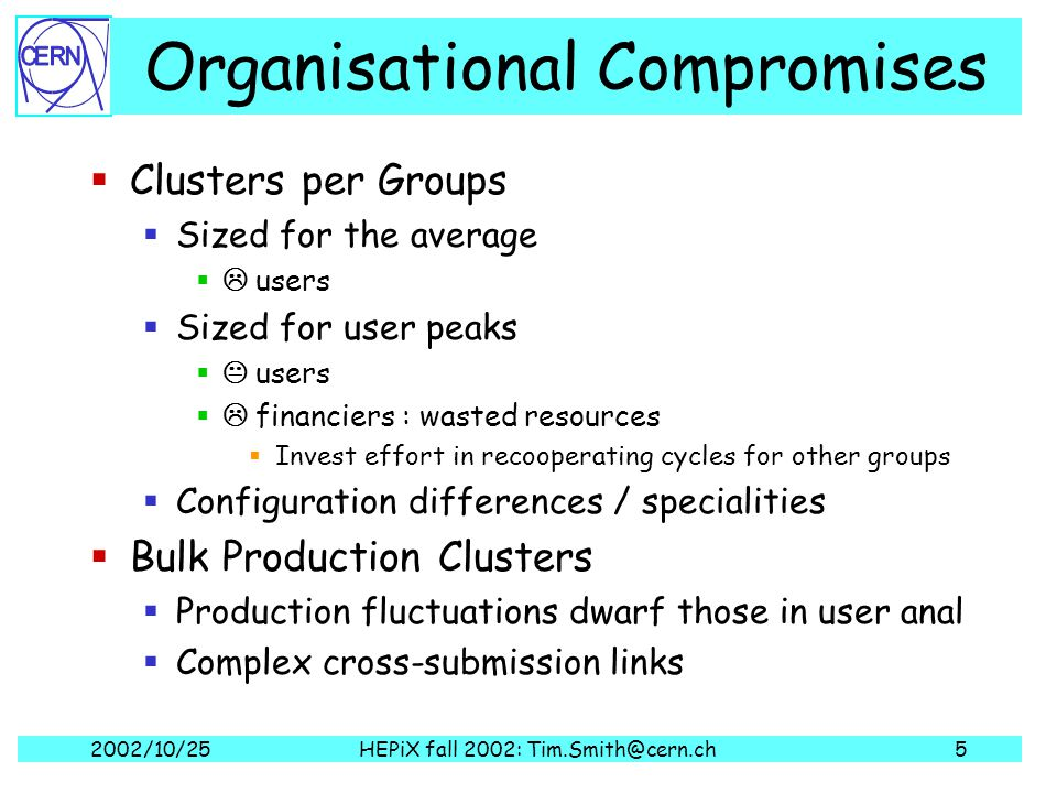 2002/10/25HEPiX fall 2002: Tim.Smith@cern.ch5 Organisational Compromises  Clusters per Groups  Sized for the average  users  Sized for user peaks  users  financiers : wasted resources  Invest effort in recooperating cycles for other groups  Configuration differences / specialities  Bulk Production Clusters  Production fluctuations dwarf those in user anal  Complex cross-submission links