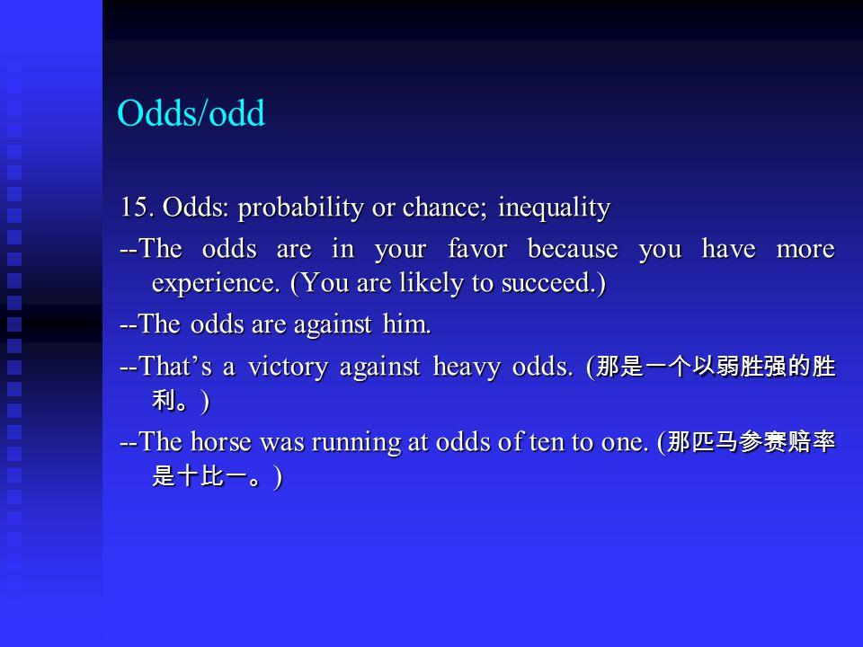 Odds/odd 15.
