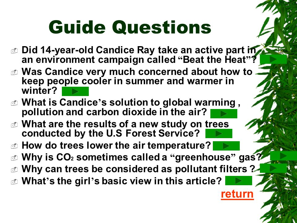 Lesson Twenty-nine Trees Make Cents  Guide Questions Guide Questions  Analysis and Explanation Analysis and Explanation  Reading Comprehension Read