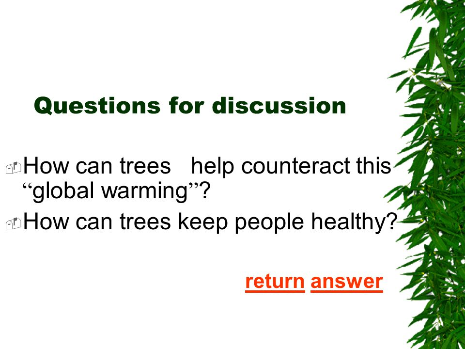 5. According to the passage,we can learn that the tress use the ____ to build new leaves, branches and roots.  [A] carbon dioxide  [B] energy in the