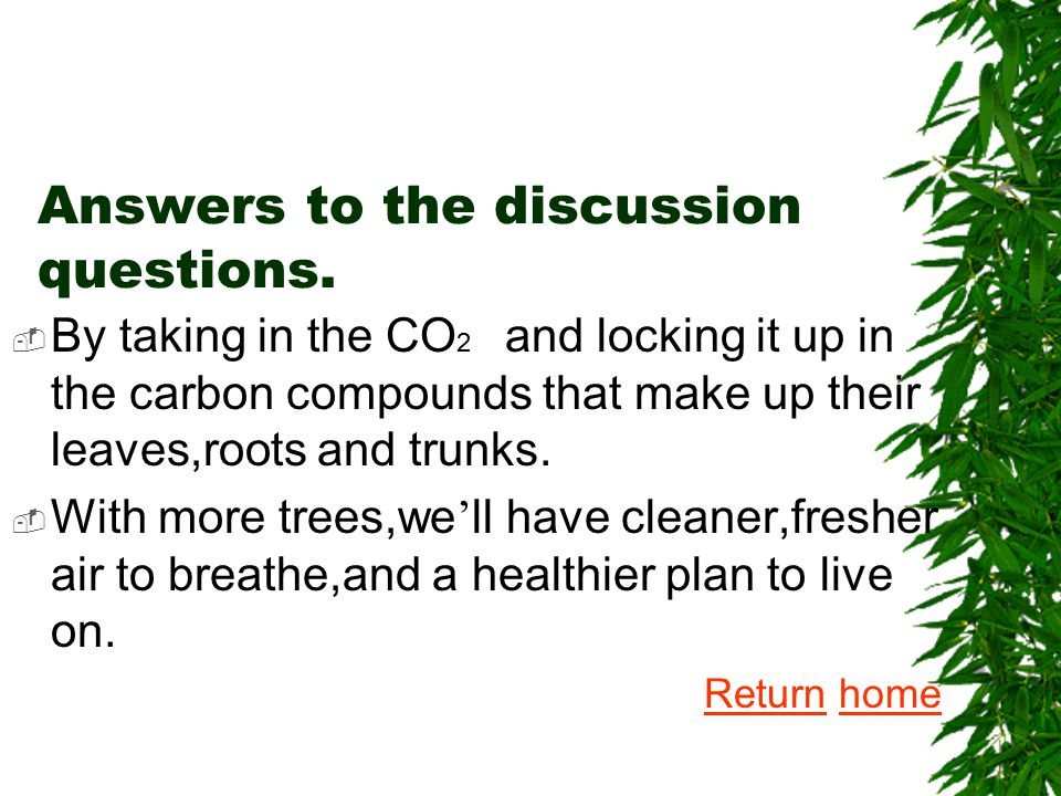 Answer: We need to take care of trees and keep them healthy, so they can keep us healthy.