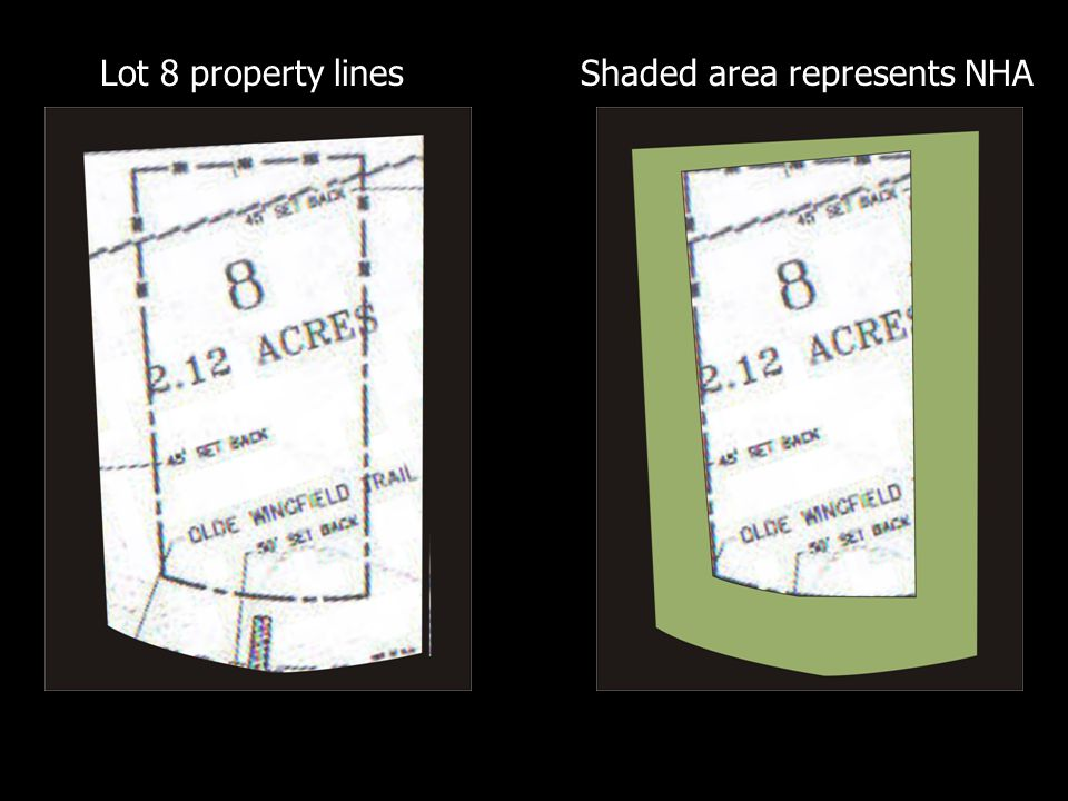 Shaded area represents NHALot 8 property lines