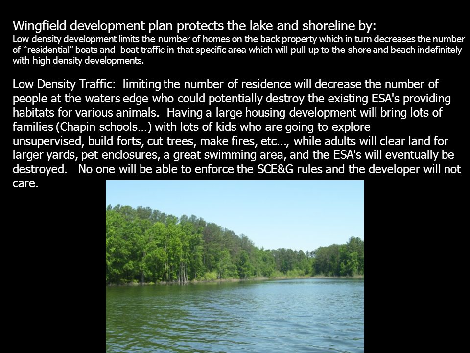 Wingfield development plan protects the lake and shoreline by: Low density development limits the number of homes on the back property which in turn d