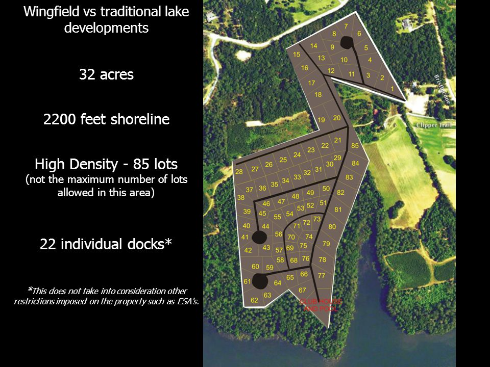 Wingfield vs traditional lake developments 32 acres 2200 feet shoreline High Density - 85 lots (not the maximum number of lots allowed in this area) 2