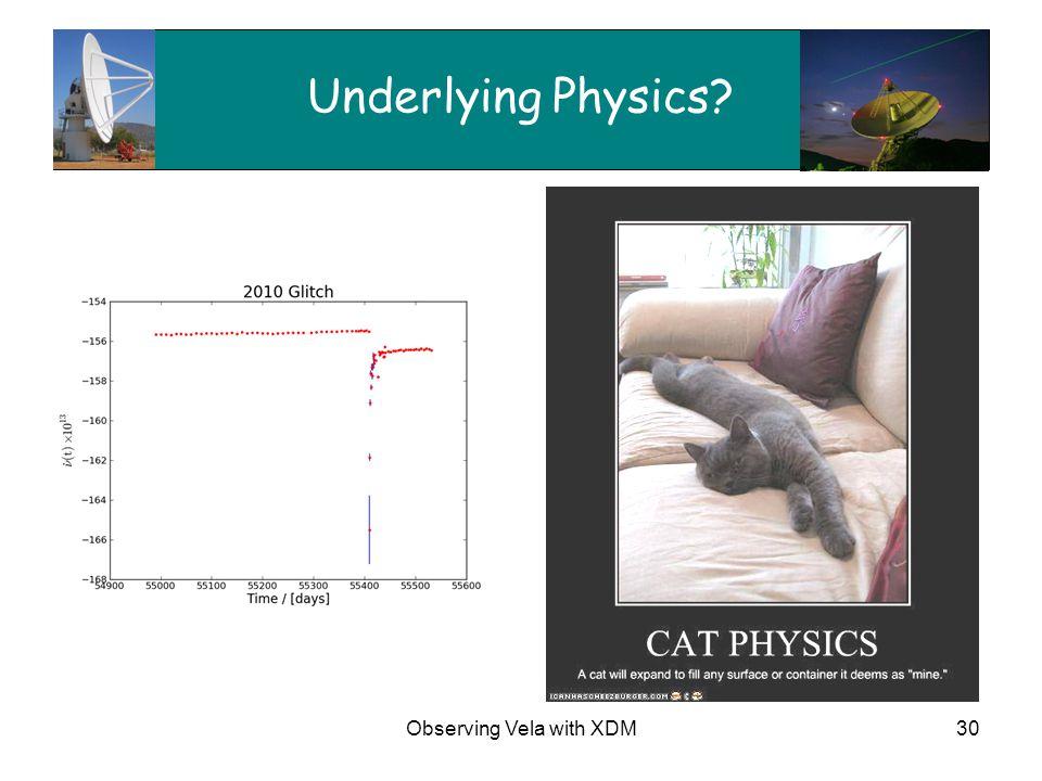 Observing Vela with XDM30 Underlying Physics?