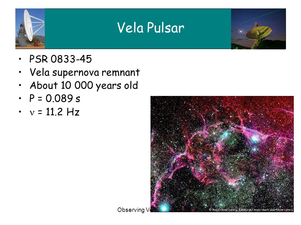 Observing Vela with XDM4 Vela Pulsar PSR 0833-45 Vela supernova remnant About 10 000 years old P = 0.089 s = 11.2 Hz