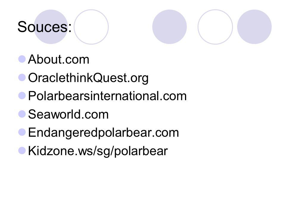 Souces: About.com OraclethinkQuest.org Polarbearsinternational.com Seaworld.com Endangeredpolarbear.com Kidzone.ws/sg/polarbear
