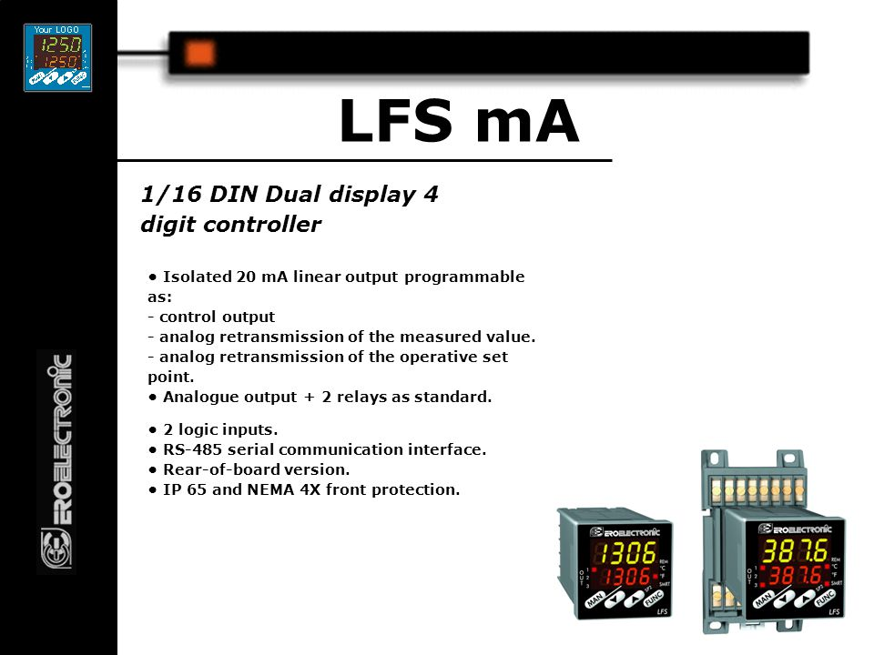 1/16 DIN 4 digits Servo motor controller LFS Servo 4 relay outputs made up as follows:  1 & 2 Servo motor outputs  3 & 4 Dual alarms Inputs T/c or linear main, Feed back pot auxiliary Full servo and heat/cool algorithms.