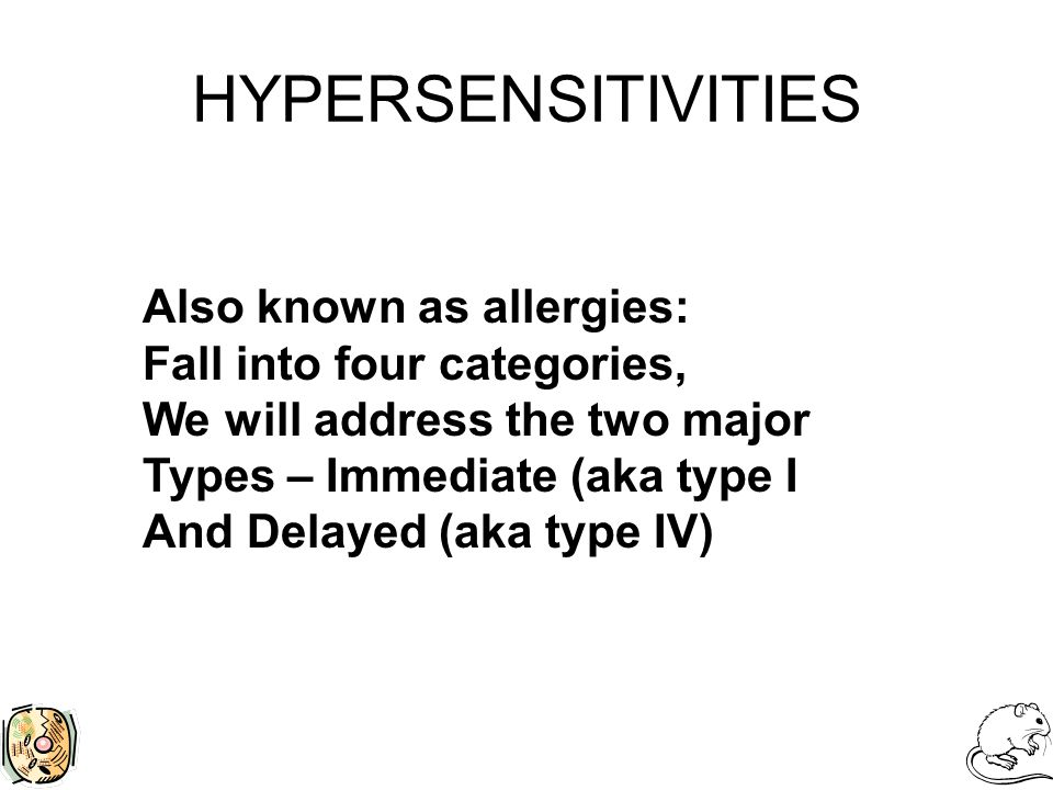 HYPERSENSITIVITIES Also known as allergies: Fall into four categories, We will address the two major Types – Immediate (aka type I And Delayed (aka type IV)