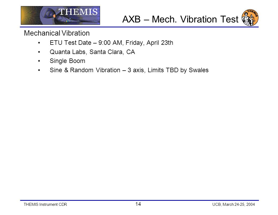 THEMIS Instrument CDR 14 UCB, March 24-25, 2004 AXB – Mech.