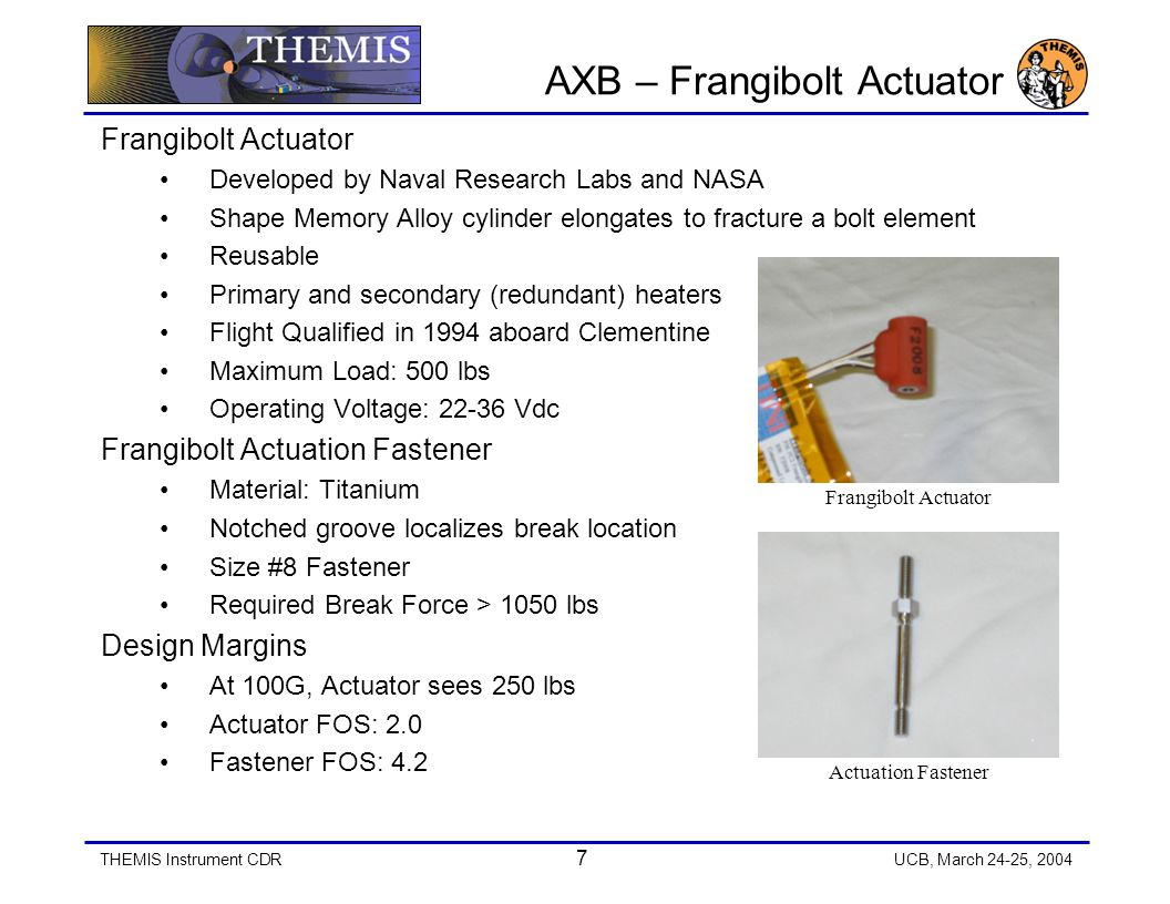 THEMIS Instrument CDR 8 UCB, March 24-25, 2004 Testing Actuator Fastener –10% of lot is tested, tensile pull test –Min.
