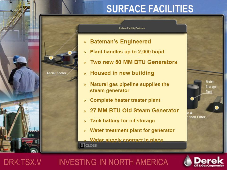SURFACE FACILITIES Features of Surface Facilities DRK:TSX.V INVESTING IN NORTH AMERICA