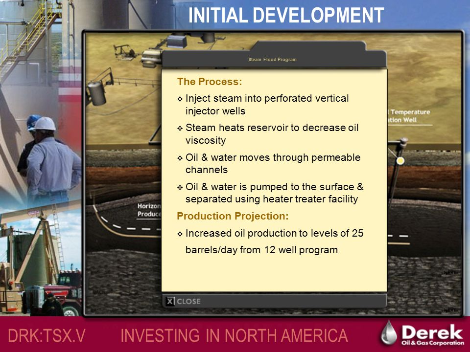INITIAL DEVELOPMENT – 2005/2006 Continuous Steam Injection Program DRK:TSX.V INVESTING IN NORTH AMERICA
