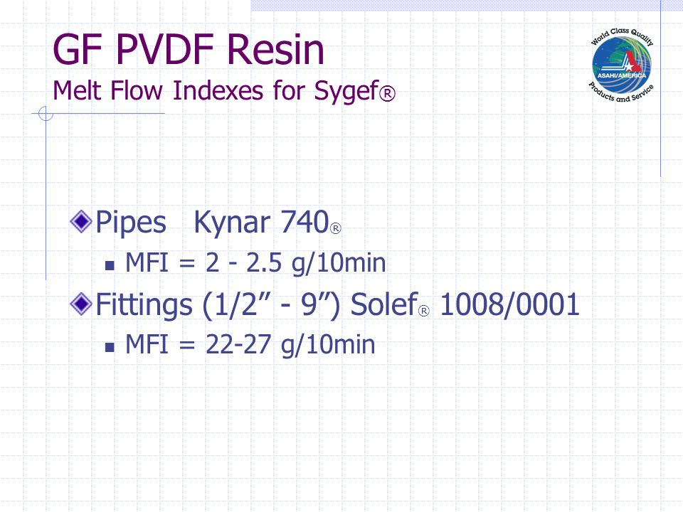 "GF PVDF Resin Melt Flow Indexes for Sygef ® Pipes Kynar 740 ® MFI = 2 - 2.5 g/10min Fittings (1/2"" - 9"") Solef ® 1008/0001 MFI = 22-27 g/10min"