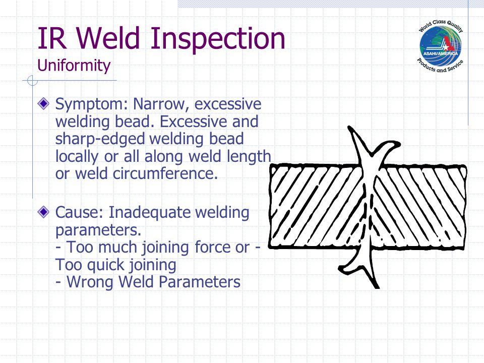 IR Weld Inspection Uniformity Symptom: Narrow, excessive welding bead.