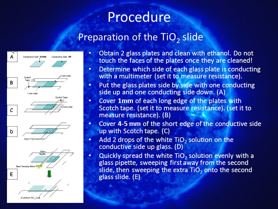 Procedure Preparation of the TiO 2 slide Obtain 2 glass plates and clean with ethanol. Do not touch the faces of the plates once they are cleaned! Det