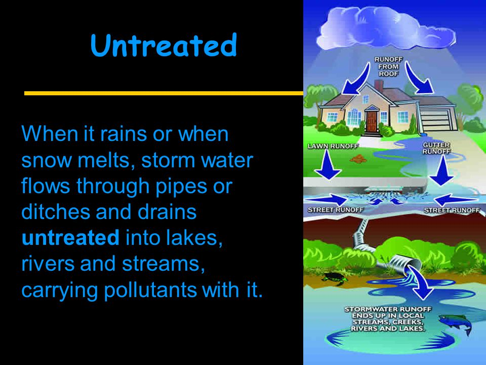 When it rains or when snow melts, storm water flows through pipes or ditches and drains untreated into lakes, rivers and streams, carrying pollutants with it.