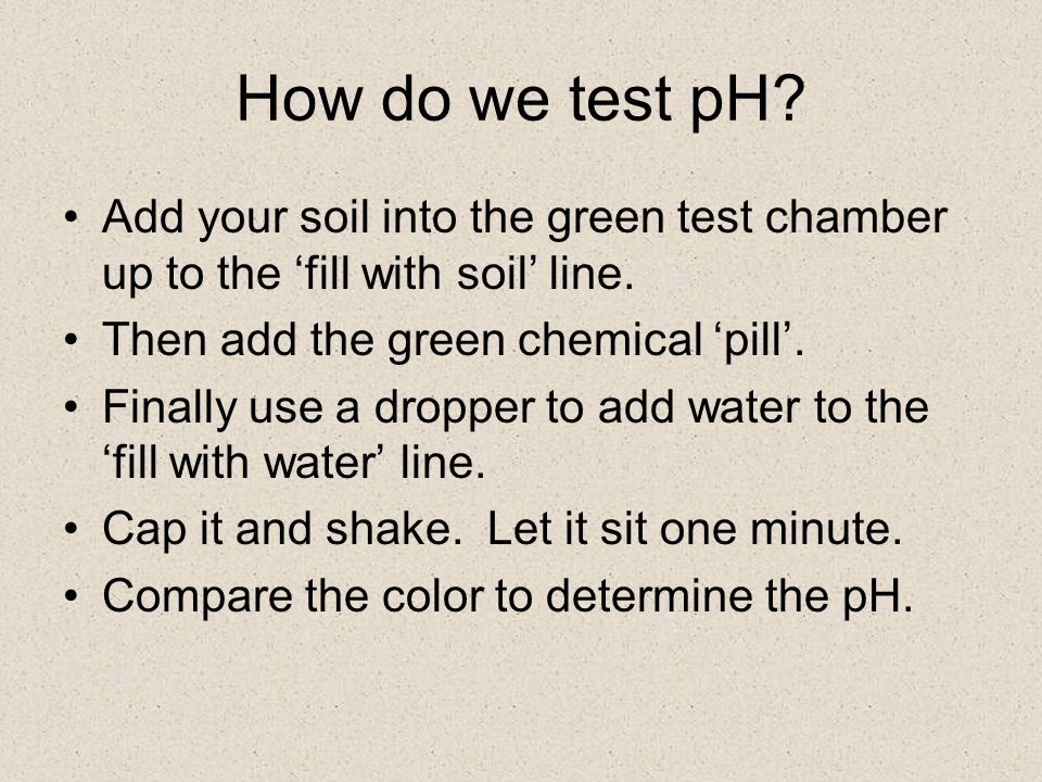 How do we test pH. Add your soil into the green test chamber up to the 'fill with soil' line.