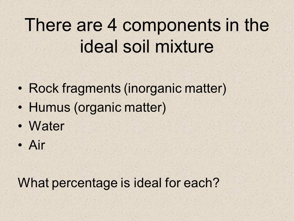 There are 4 components in the ideal soil mixture Rock fragments (inorganic matter) Humus (organic matter) Water Air What percentage is ideal for each?